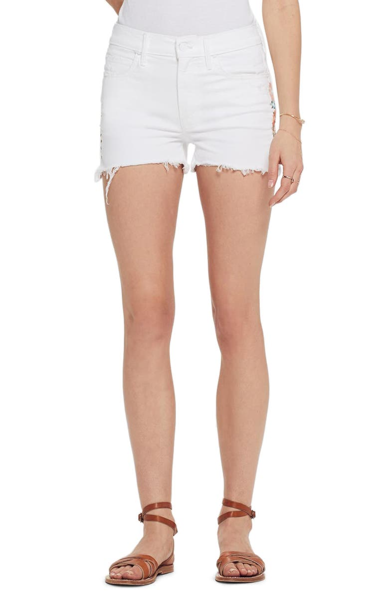 MOTHER The Dutchie High Waist Embroidered Cutoff Denim Shorts, Main, color, 101