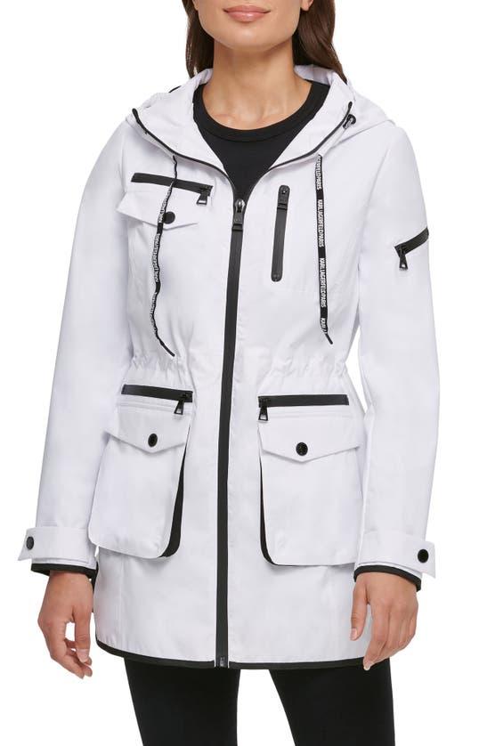 Karl Lagerfeld Hooded Tech Parka In White/ Black
