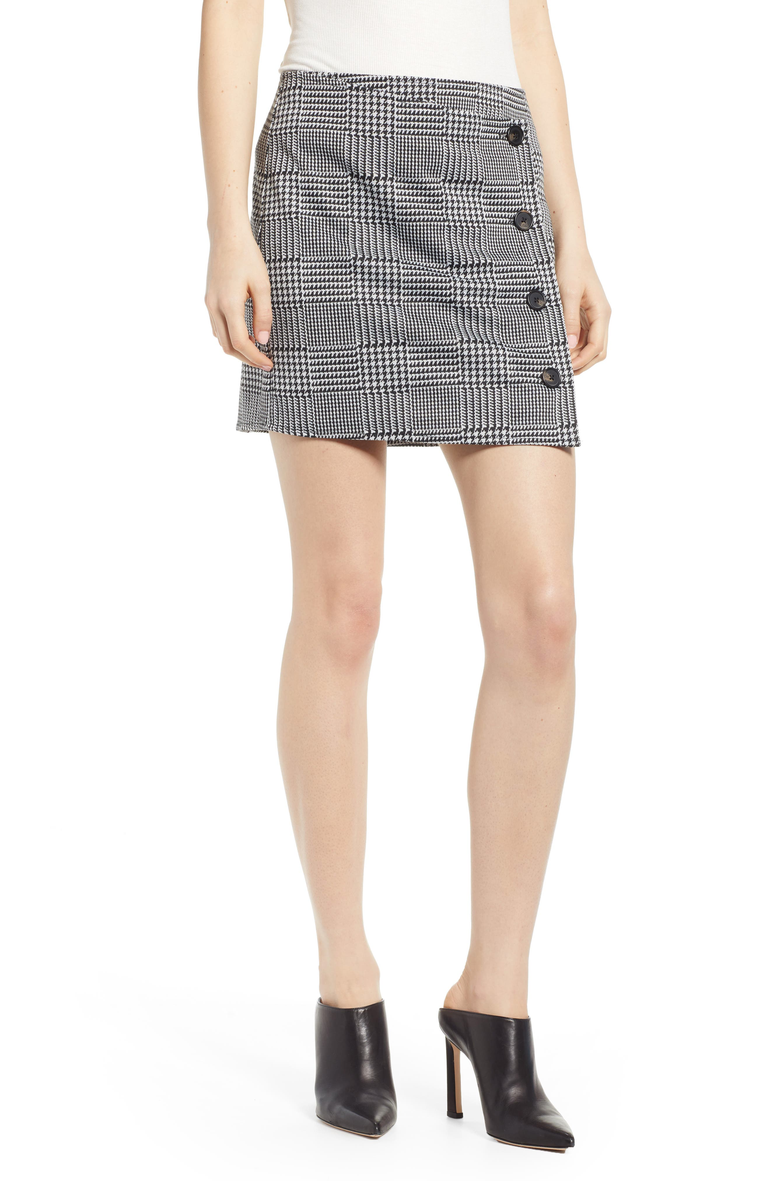 Houndstooth Check Button Wrap Skirt, Main, color, PLAID