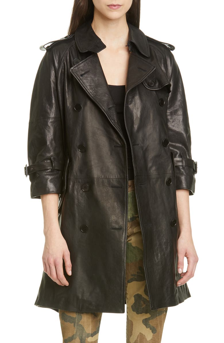 R13 Leather Trench Coat, Main, color, BLACK