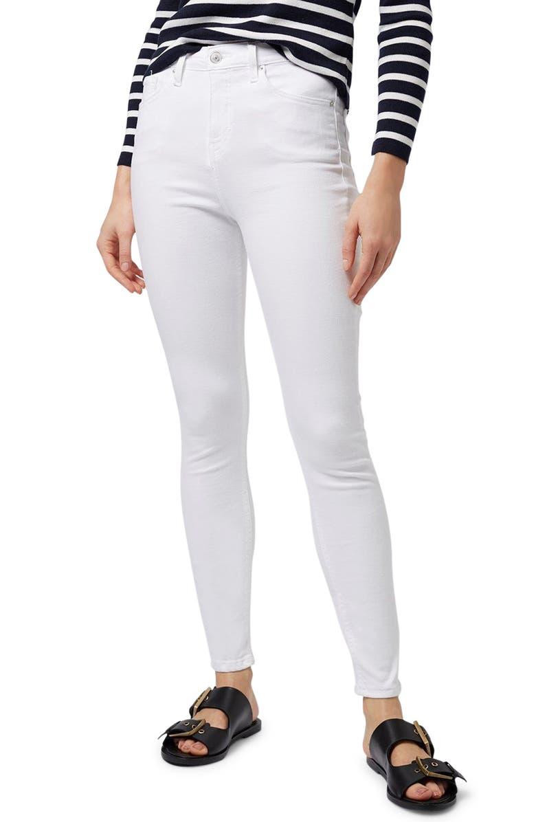 TOPSHOP Moto Jamie High Waist Skinny Jeans, Main, color, WHITE