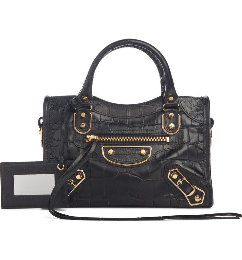 BALENCIAGA Metallic Edge Mini City Croc Embossed Leather Bag, Main, color, BLACK