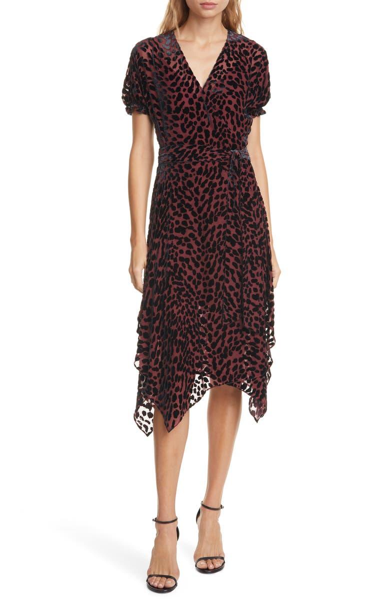 DVF Katherine Leopard Print Velvet Burnout Wrap Dress, Main, color, 930
