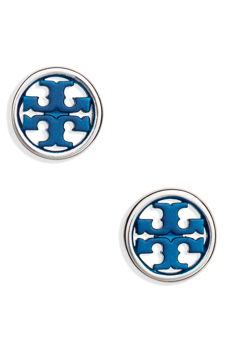 TORY BURCH Miller Circle Stud Earrings, Main, color, TORY SILVER/ NAVY