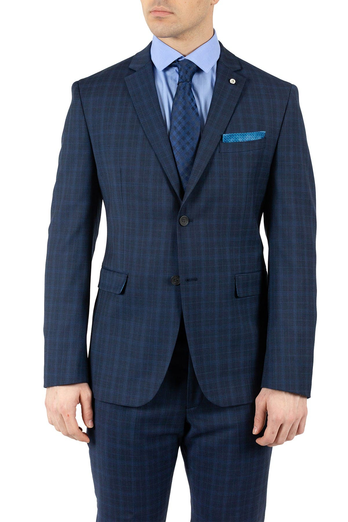 Image of Original Penguin Dark Blue Plaid Two Button Notch Lapel Slim Fit Wool Blend Suit Separates Jacket