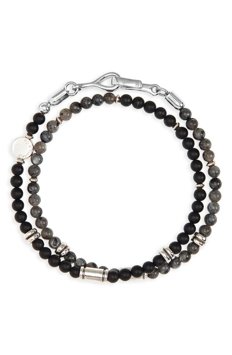 CAPUTO & CO. Stone Bead Wrap Bracelet, Main, color, LABRADORITE/ BLACK ONYX