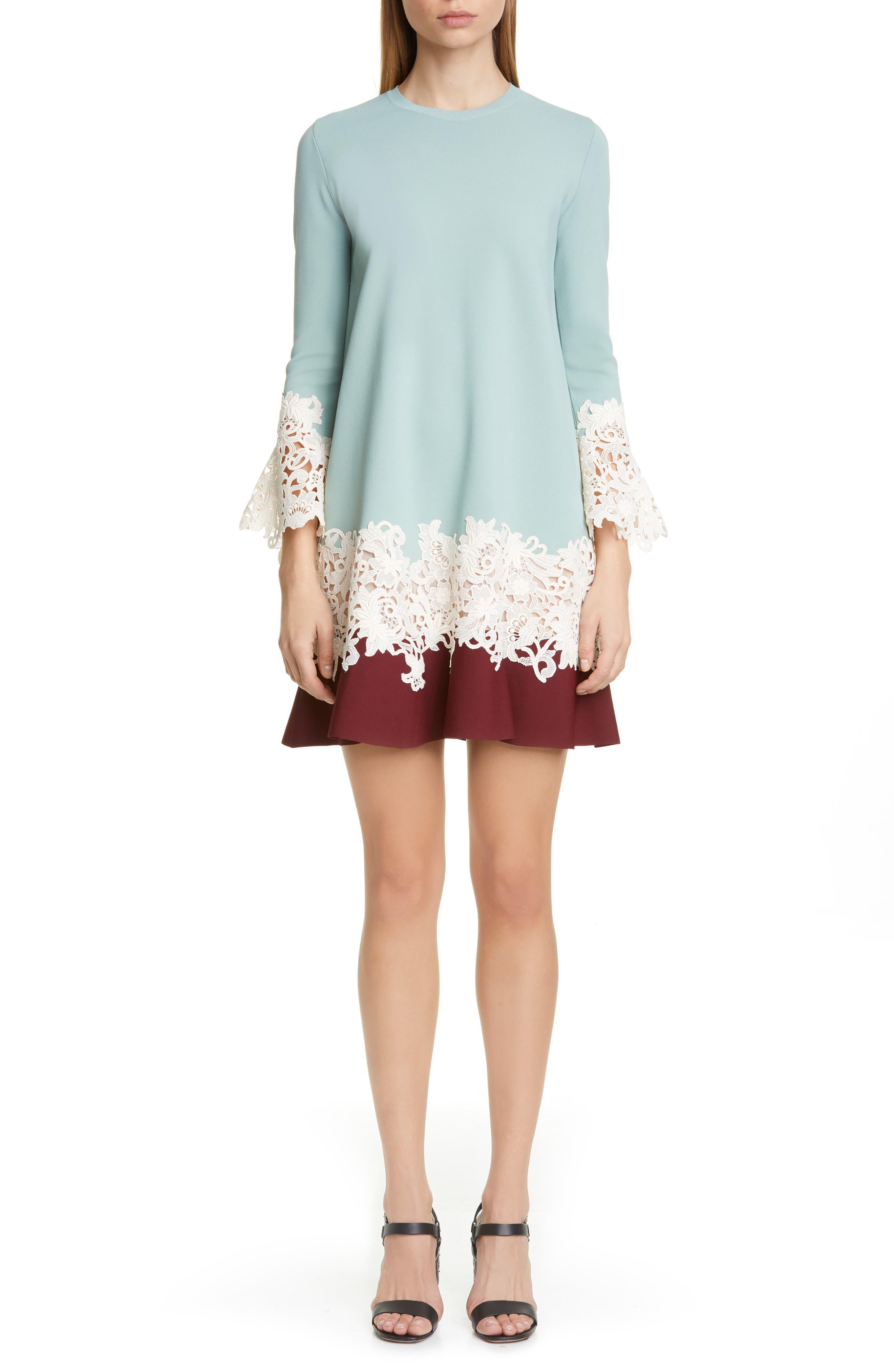 Valentino Lace Applique Colorblock Sweater Shift Dress, Green