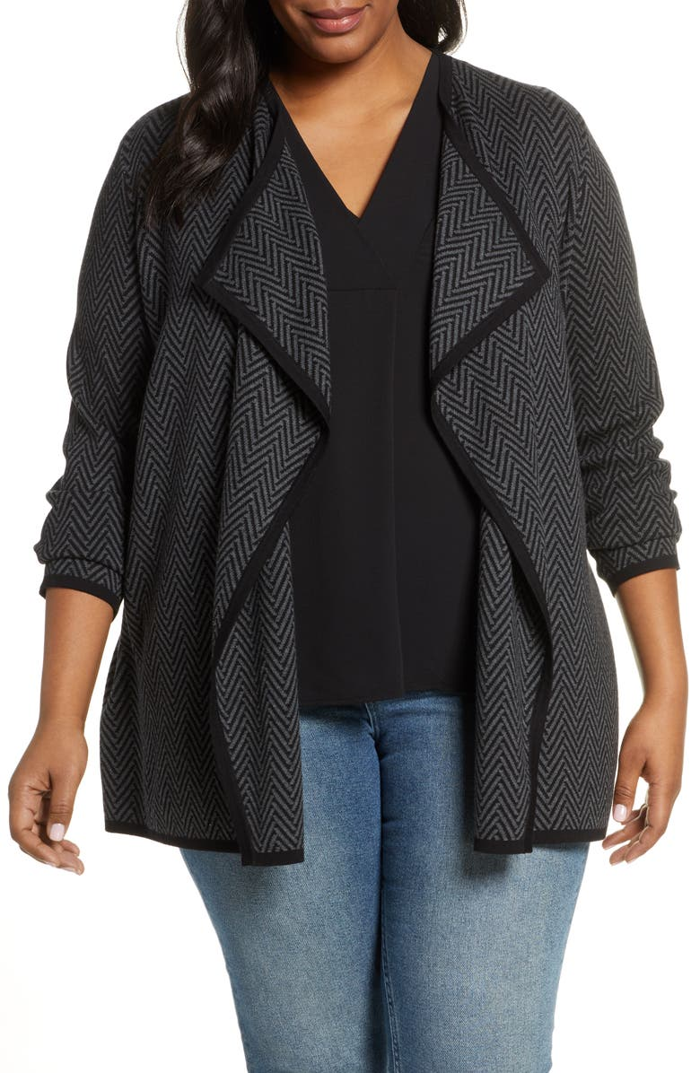 VINCE CAMUTO Herringbone Print Cascade Cotton Cardigan, Main, color, MED HEATHER GREY