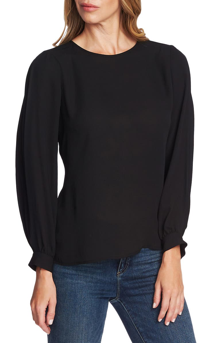 VINCE CAMUTO Pleated Sleeve Blouse, Main, color, RICH BLACK