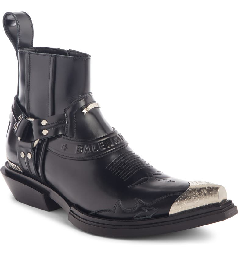 BALENCIAGA Santiag Harness Boot, Main, color, BLACK
