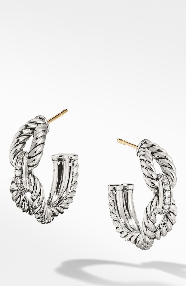 DAVID YURMAN Cable Loop Hoop Earrings with Diamonds, Main, color, STERLING SILVER/ DIAMOND