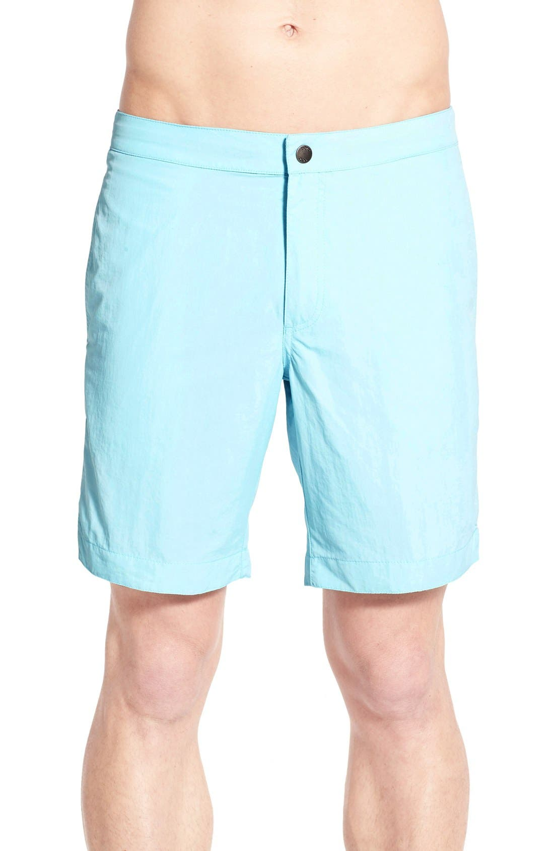 Vintage Men's Swimsuits – 1930s to 1970s History Mens Boto Aruba Tailored Fit Swim Trunks Size 38 - Blue $69.00 AT vintagedancer.com