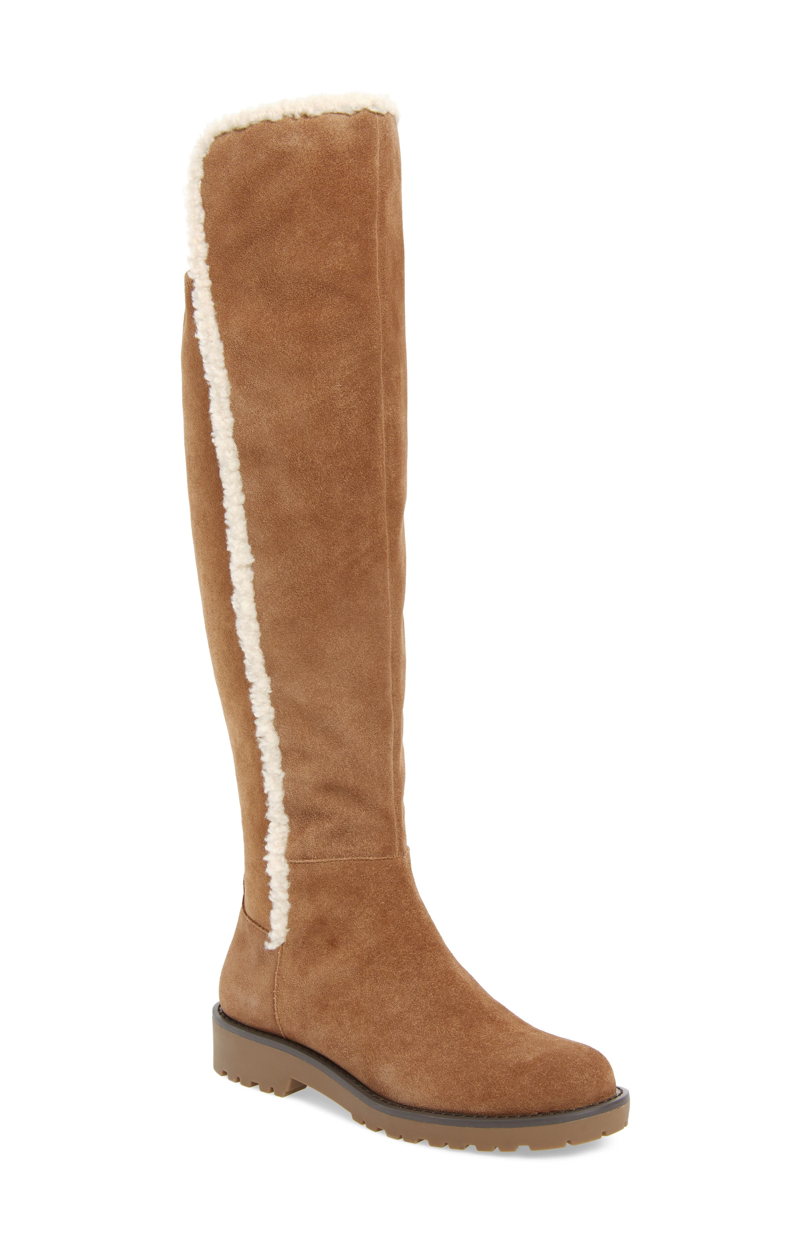 Sole Society Juno Faux Shearling Trim Boot- Beige
