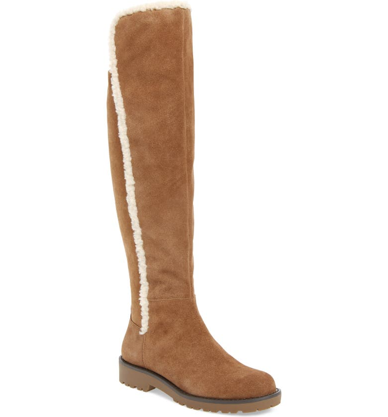 SOLE SOCIETY Juno Faux Shearling Trim Boot, Main, color, HONEY SUEDE