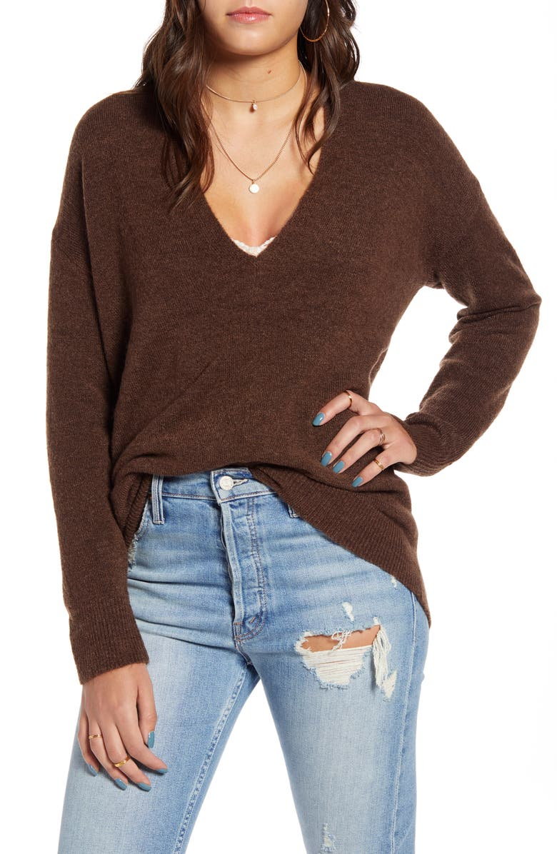 LEITH Cozy V-Neck Sweater, Main, color, BROWN FAWN HEATHER