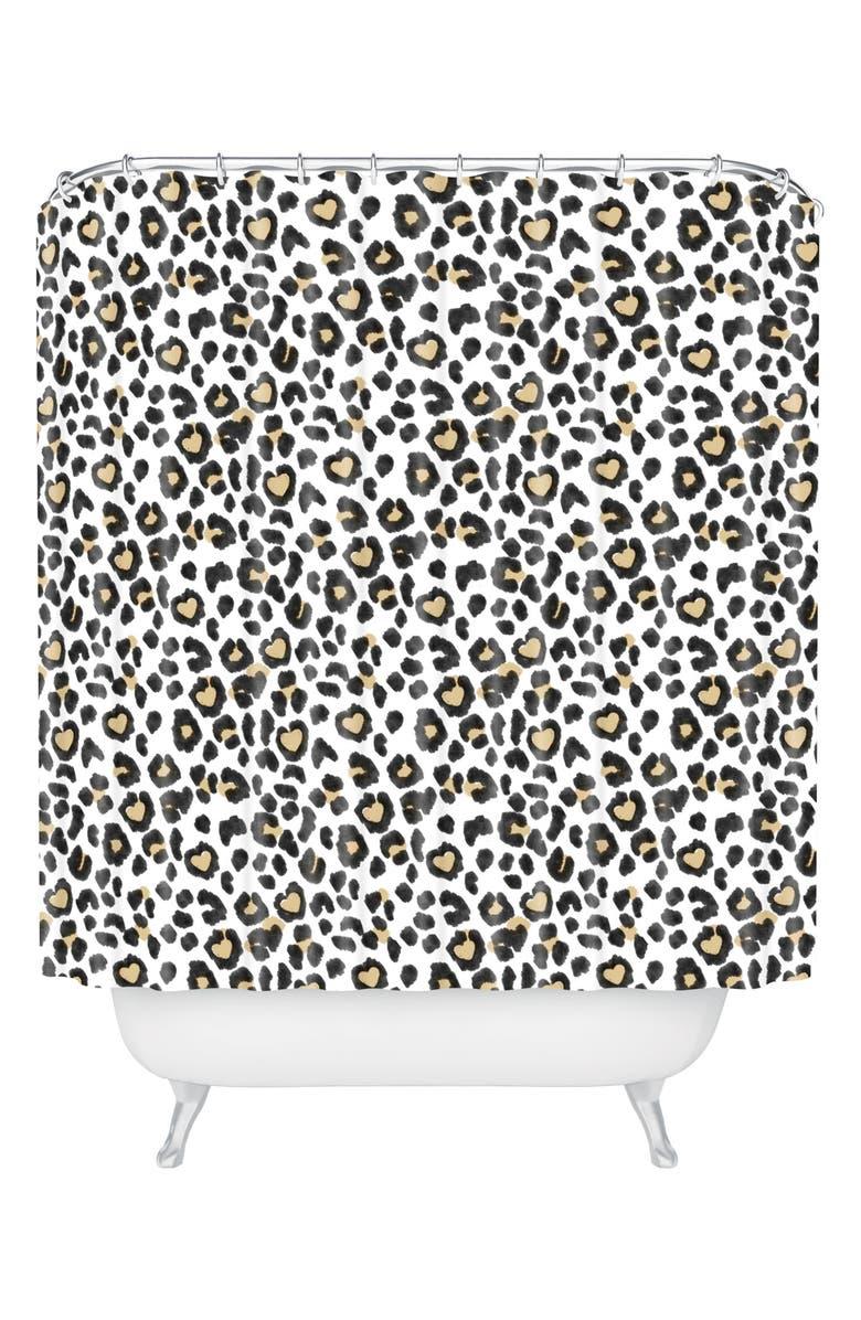 DENY DESIGNS Dash Ash Leo Heart Shower Curtain, Main, color, BROWN/ BLACK
