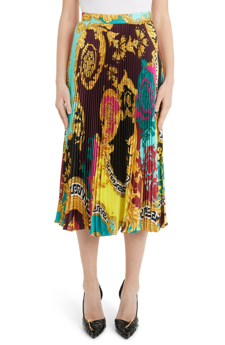 VERSACE Colorblock Mixed Print Pleated Midi Skirt, Main, color, MULTI