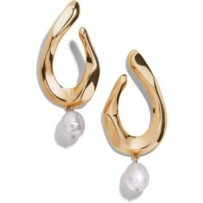 Baublebar Genuine Pearl Charm Hoop Earrings