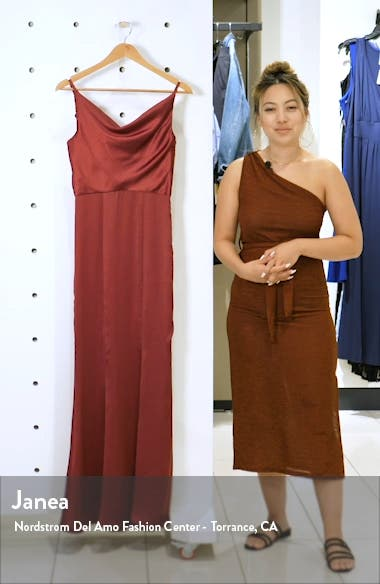 Alexandria Cowl Neck Satin Trumpet Gown, sales video thumbnail
