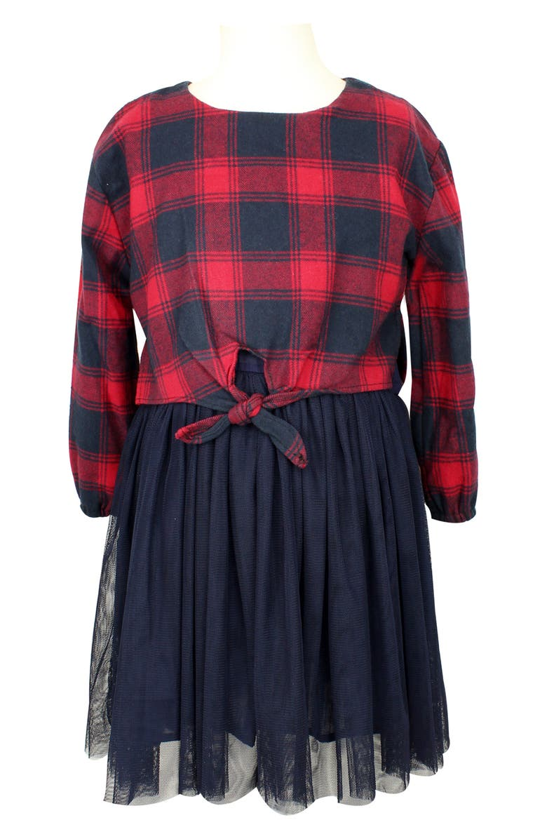 POPATU Buffalo Check Tulle Dress, Main, color, RED/ NAVY