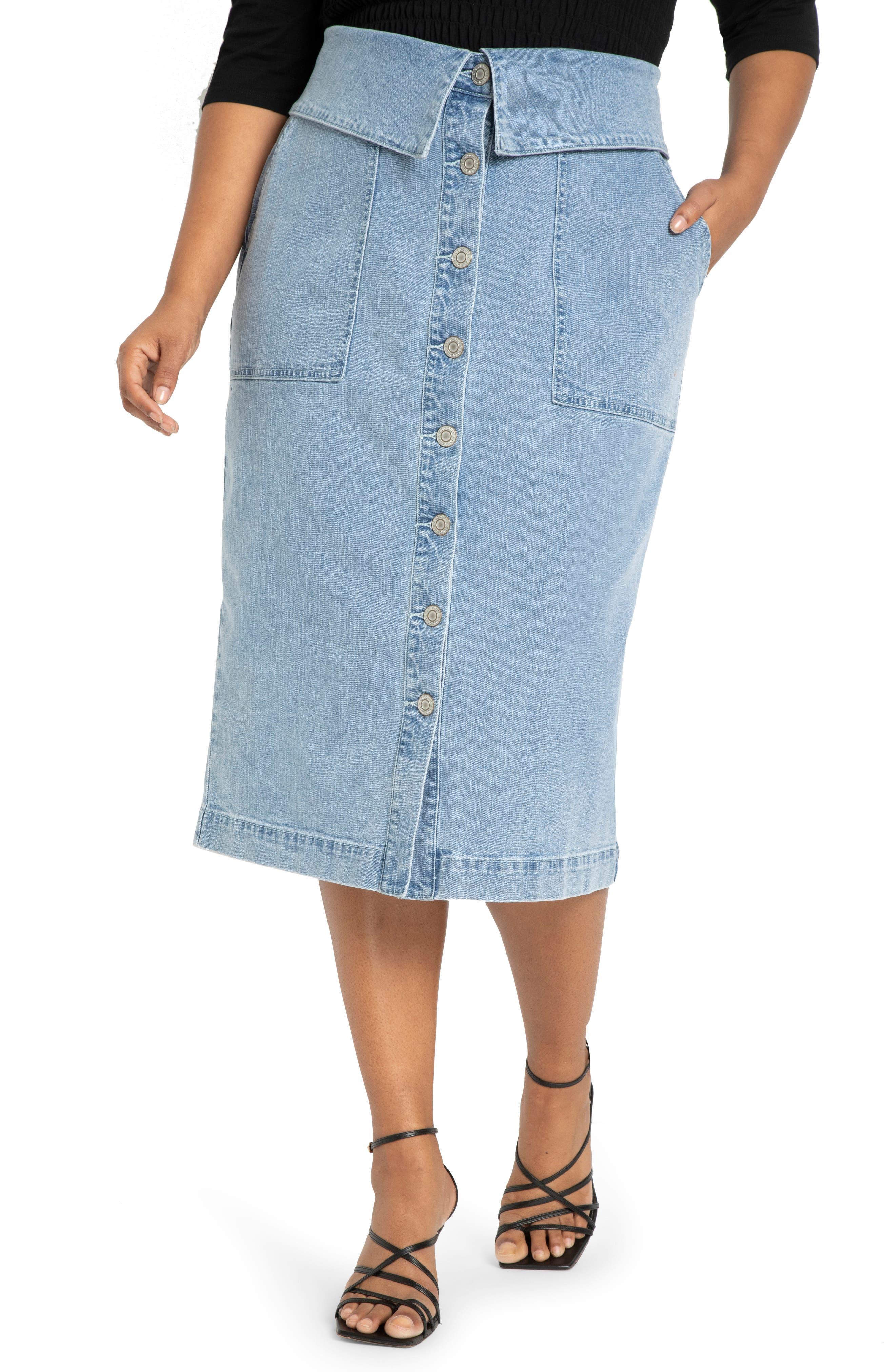 Folded Button Front Denim Skirt
