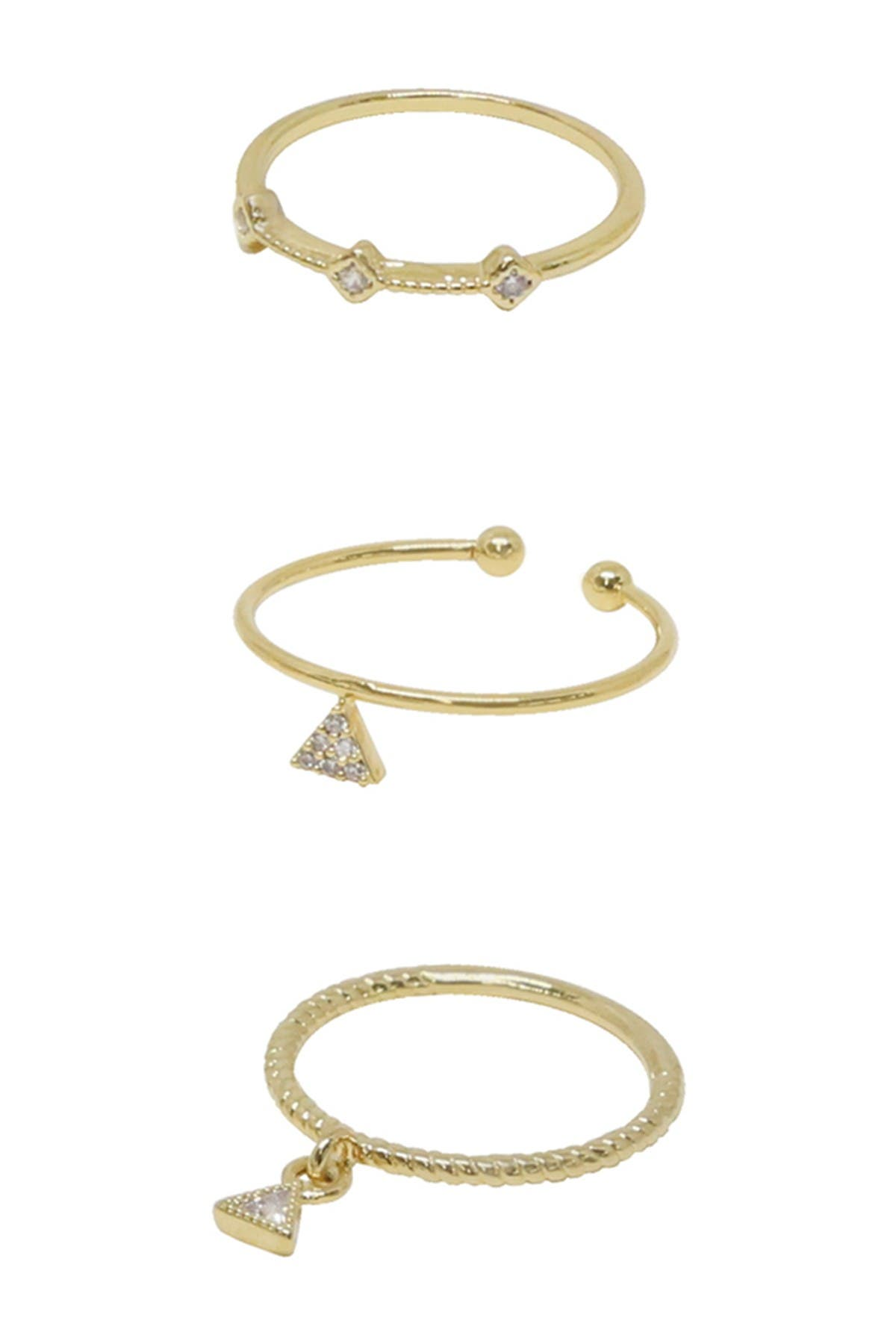 Image of Ettika 18K Gold Plated CZ Crystal Rings - Set of 3