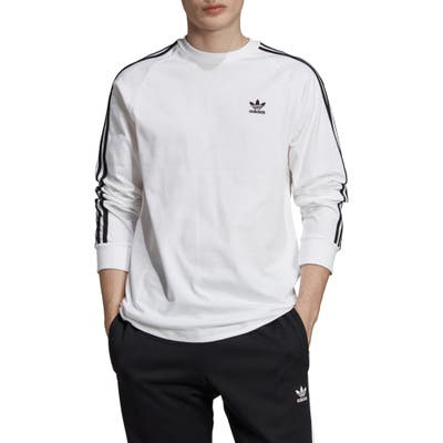Adidas Originals 3-Stripes Long Sleeve T-Shirt, White