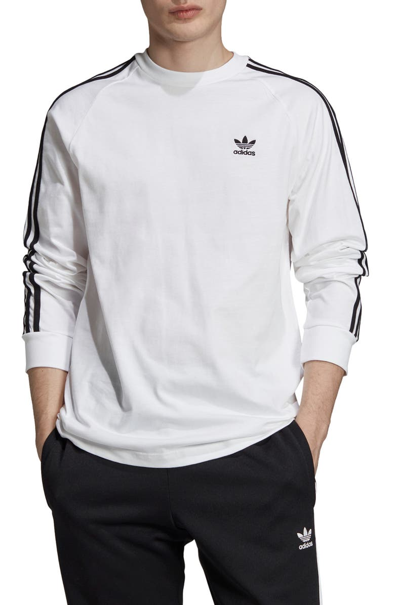 ADIDAS ORIGINALS 3-Stripes Long Sleeve T-Shirt, Main, color, WHITE