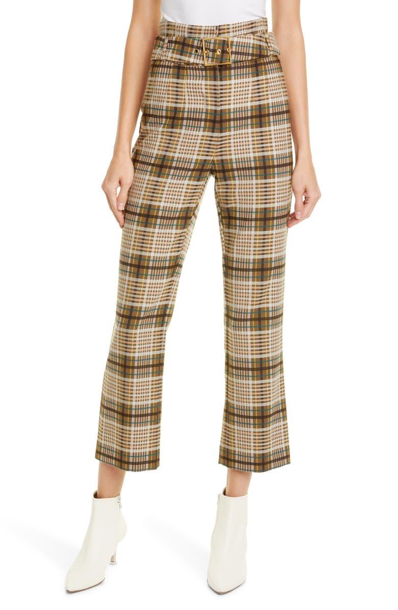 JONATHAN SIMKHAI E-Cig Belted Plaid Pants, Main, color, OCHRE PLAID
