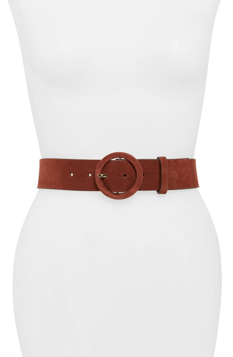 KATE SPADE NEW YORK suede belt, Main, color, MUSCAT/ GOLD
