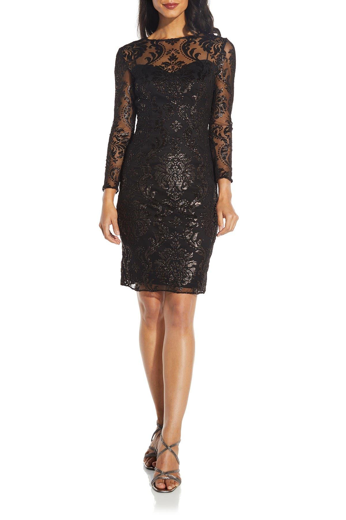 Image of Adrianna Papell Burnout Emblem Dress