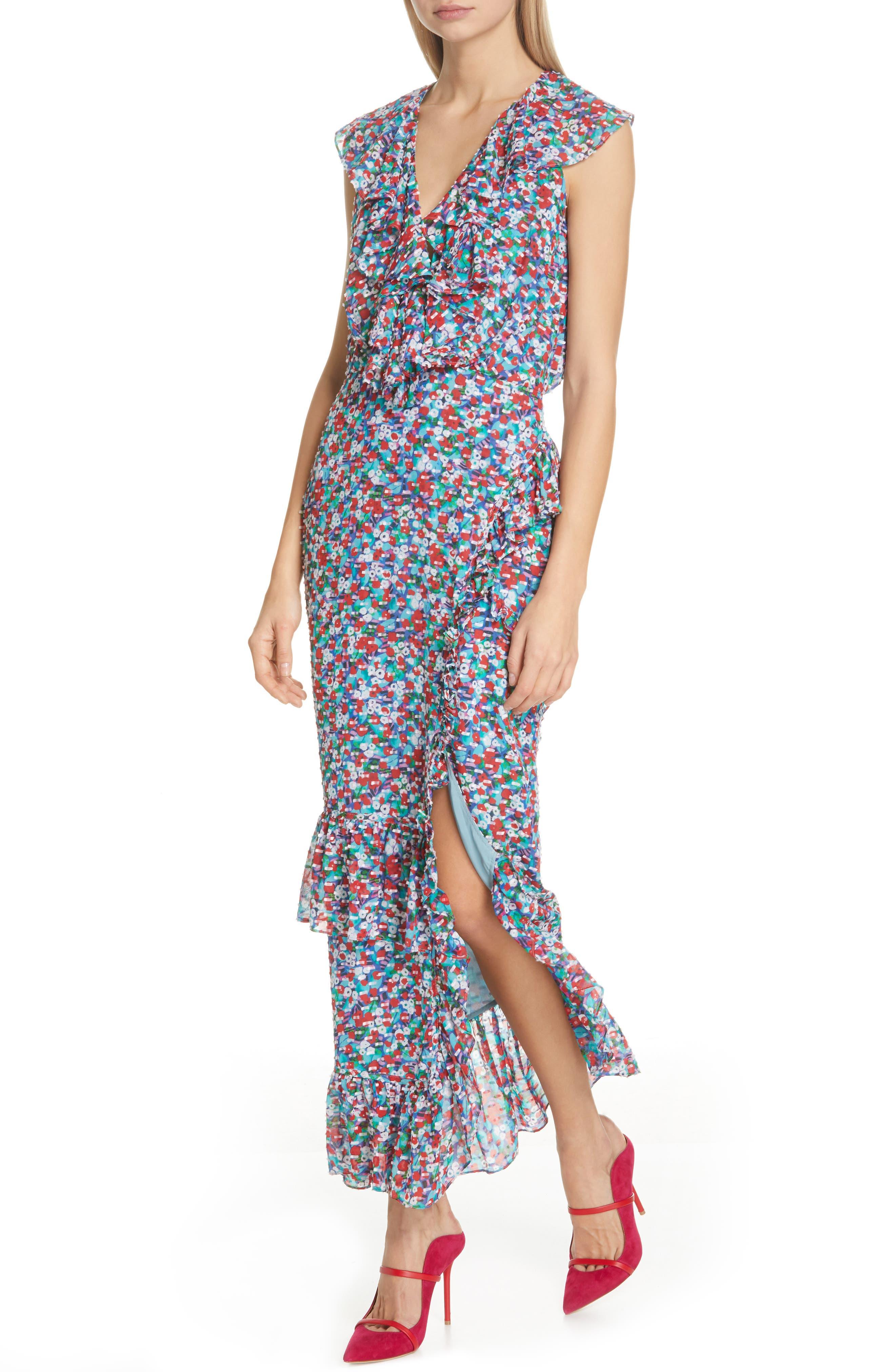 ,                             Anita Ruffle Trim Silk Burnout Dress,                             Alternate thumbnail 5, color,                             BLUE POPPYFIELD