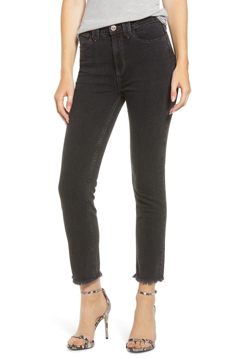 PAIGE Hoxton High Waist Fray Ankle Skinny Jeans Moondust Black