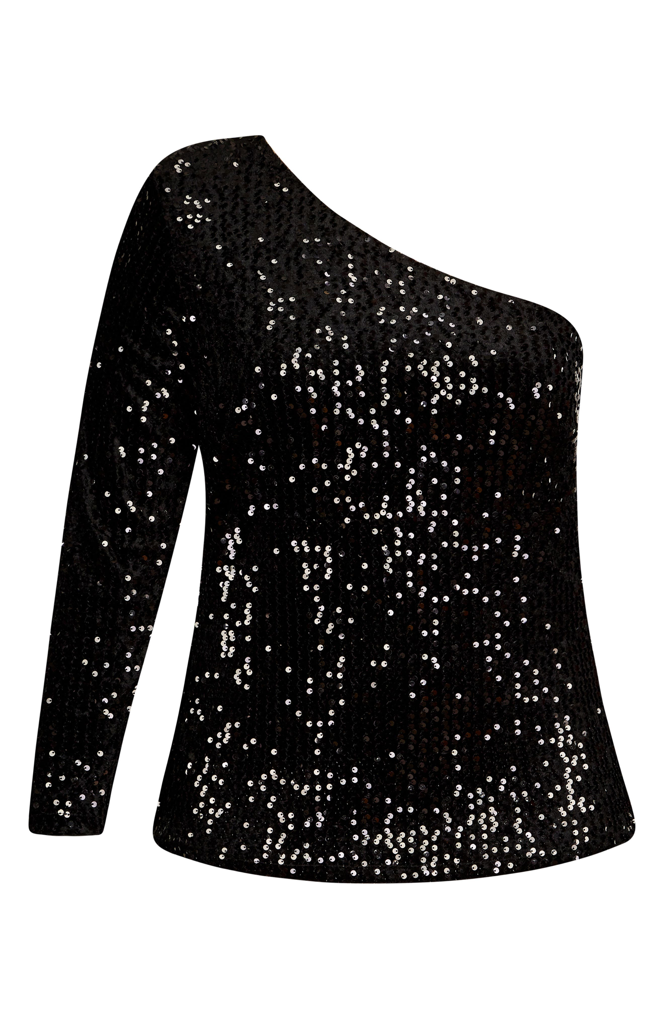 ,                             Disco Fever One-Shoulder Sequin Top,                             Alternate thumbnail 3, color,                             BLACK