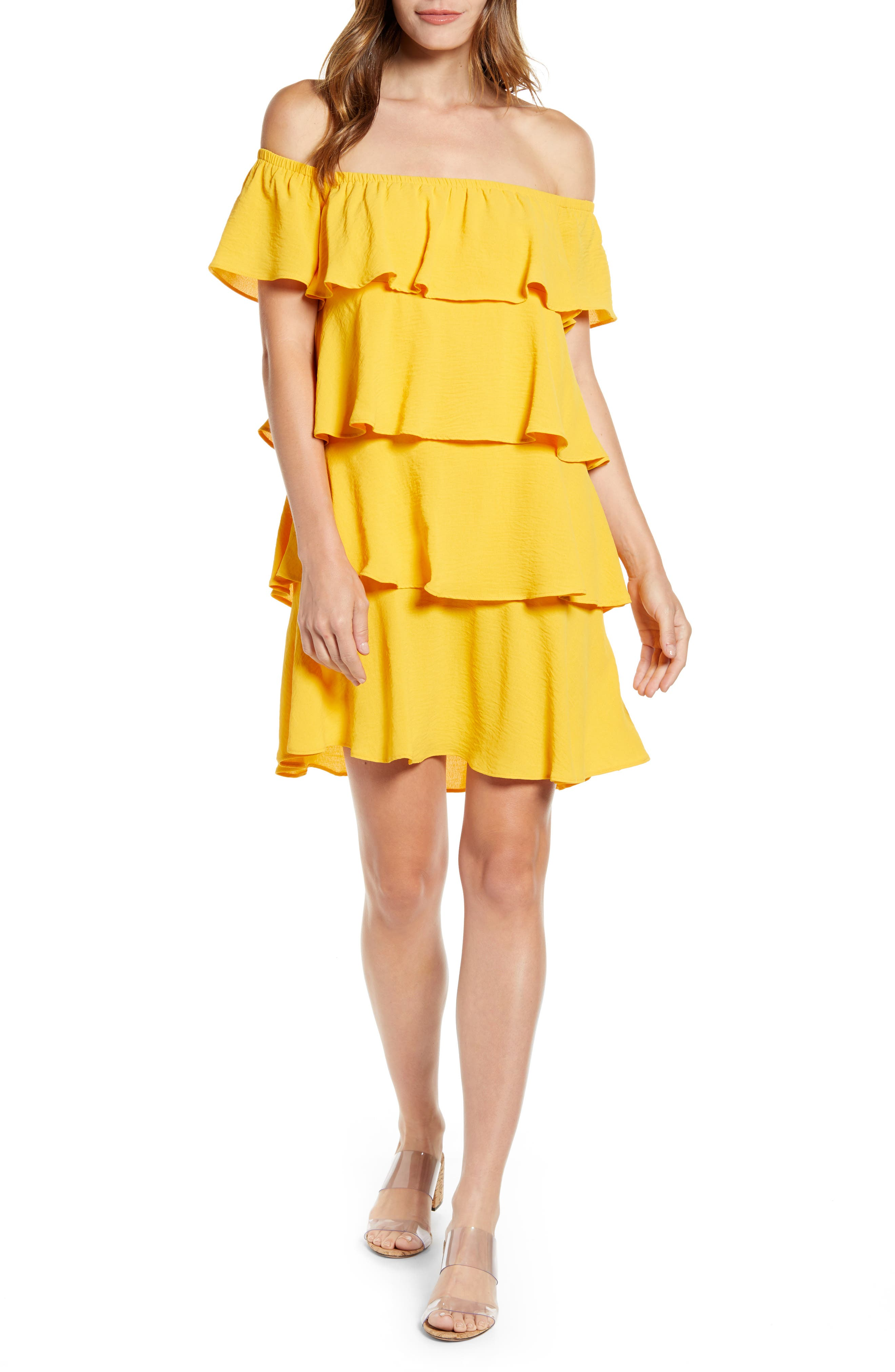 Petite Gibson X Hot Summer Nights Natalie Off The Shoulder Ruffle Dress, Yellow (Regular & Petite) (Nordstrom Exclusive)