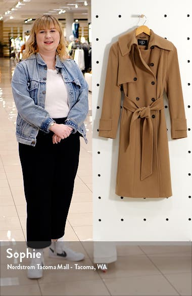 Double Breasted Belted Wool Hooded Coat, sales video thumbnail