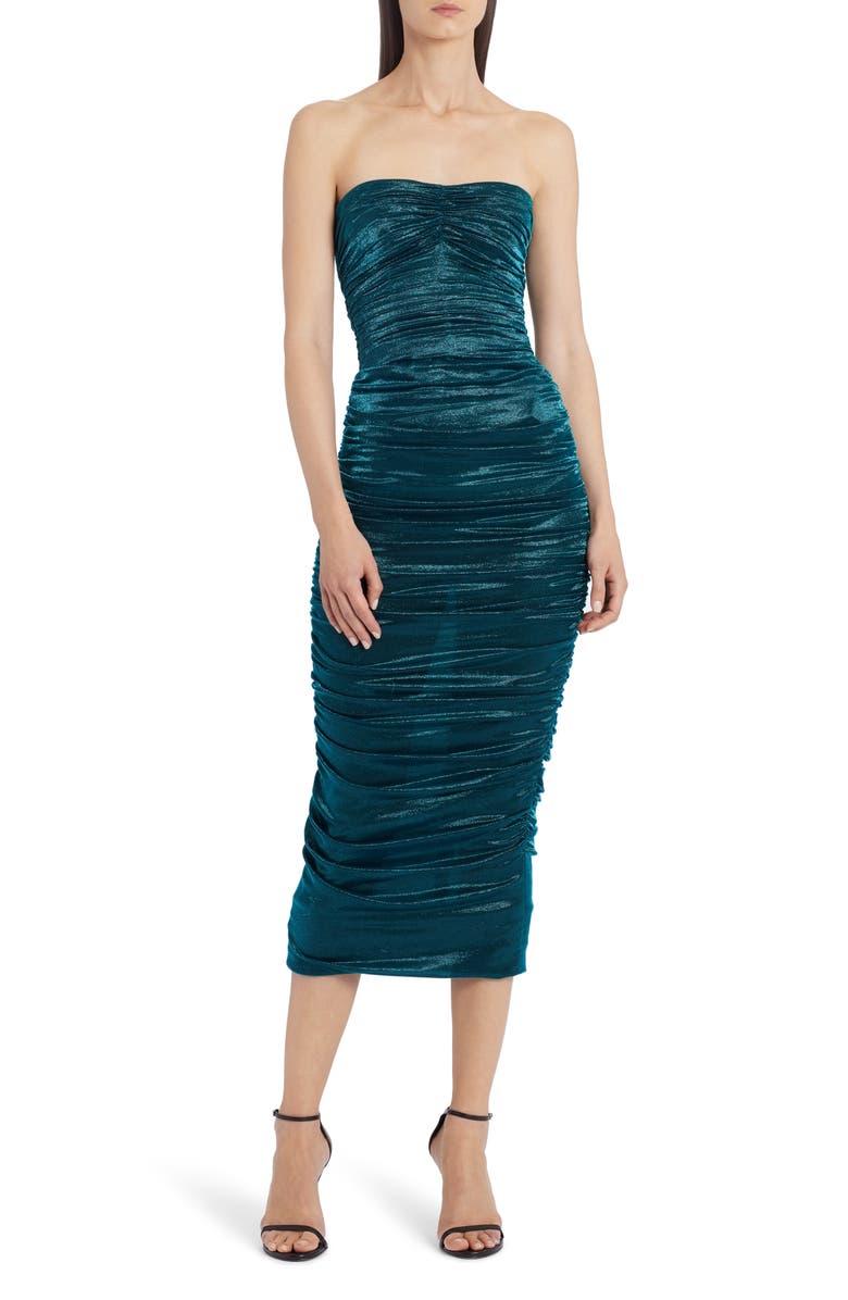 DOLCE&GABBANA Ruched Strapless Lamé Body-Con Midi Dress, Main, color, 440