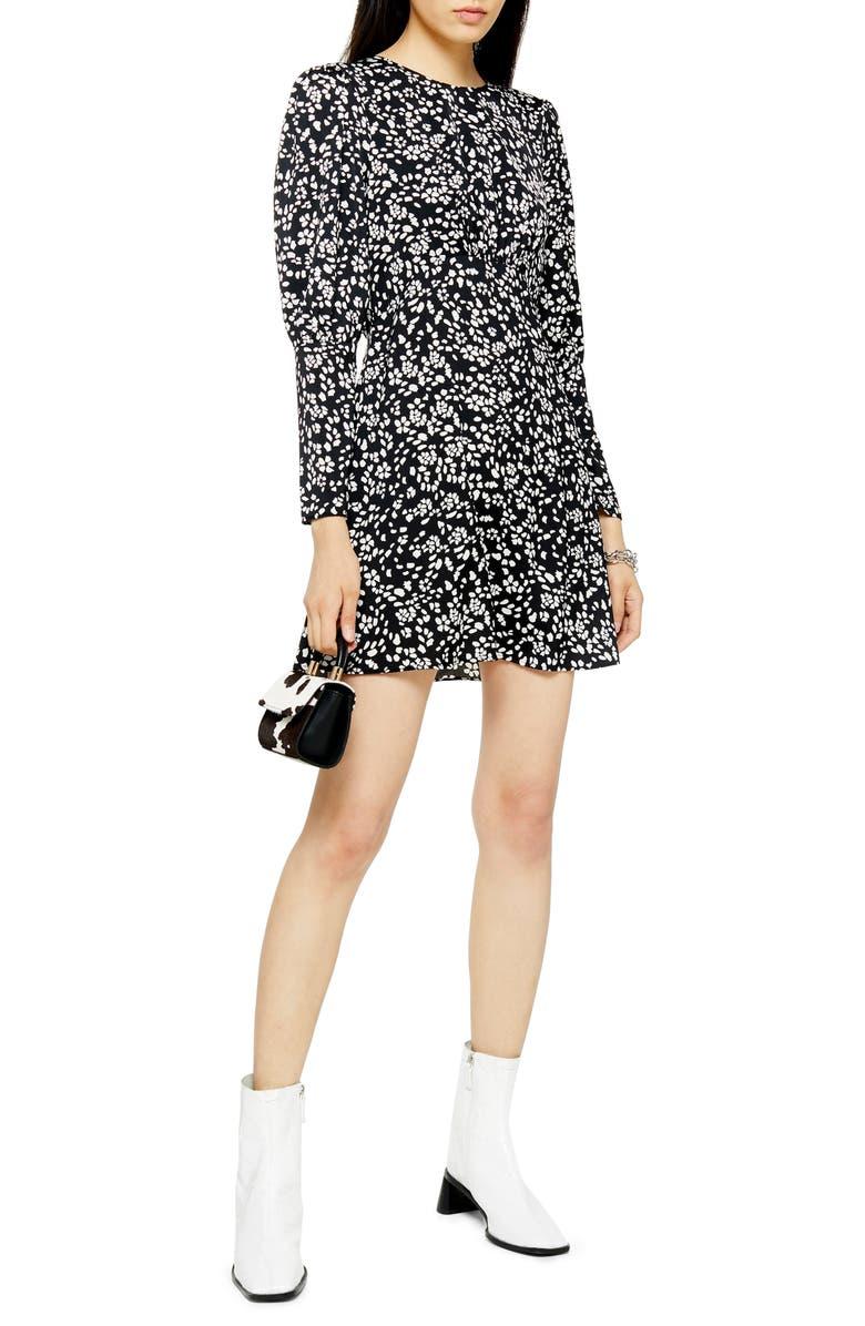TOPSHOP Austin Long Sleeve Open Back Floral Minidress, Main, color, BLACK MULTI