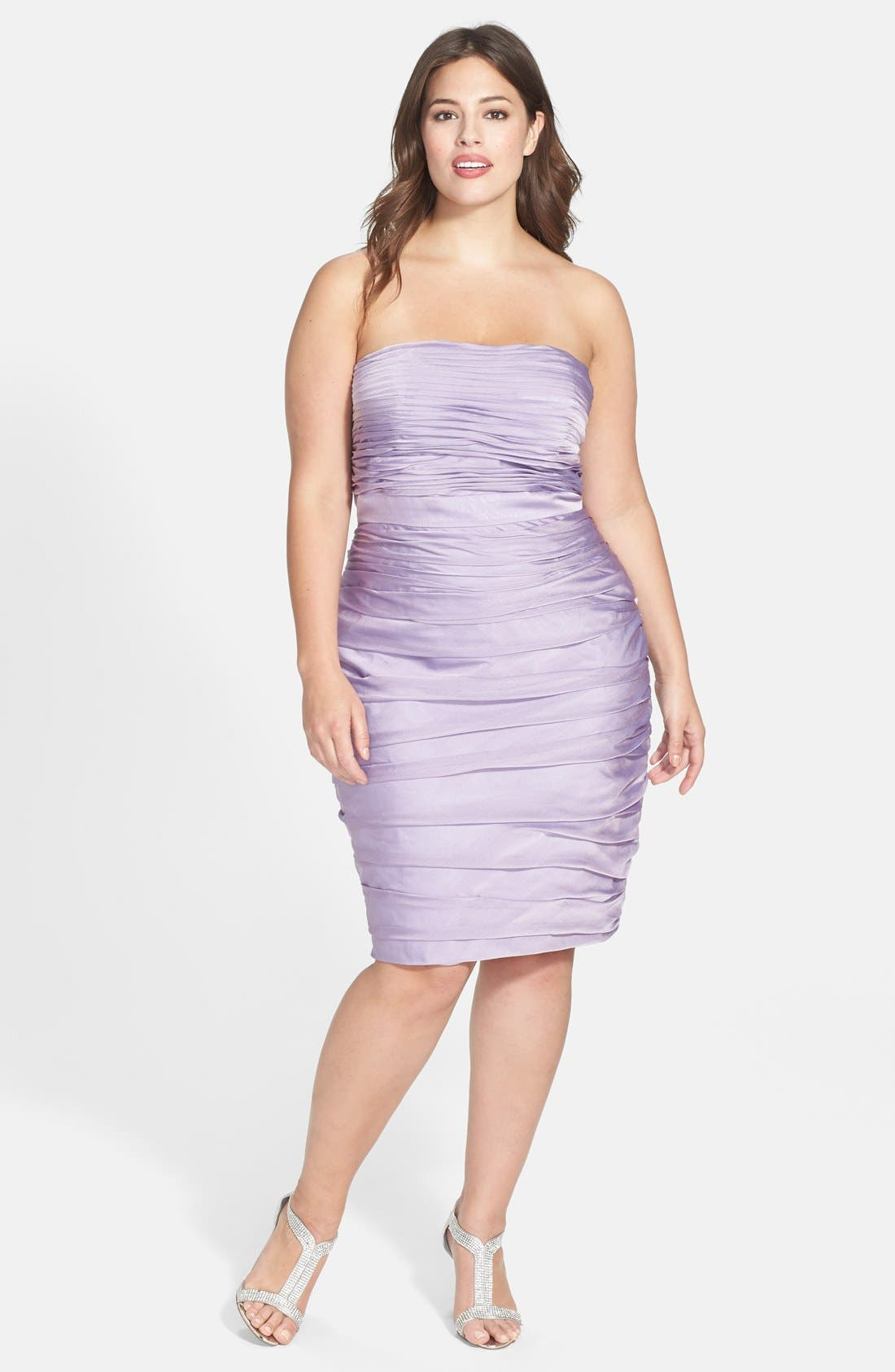 ,                             Ruched Strapless Cationic Chiffon Dress,                             Alternate thumbnail 58, color,                             533