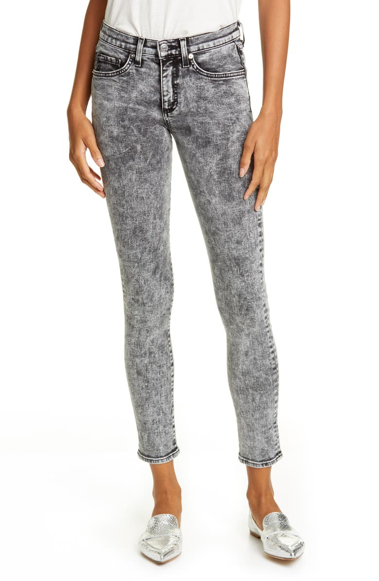 VERONICA BEARD Brooke Acid Wash Ankle Skinny Jeans, Main, color, BLACK