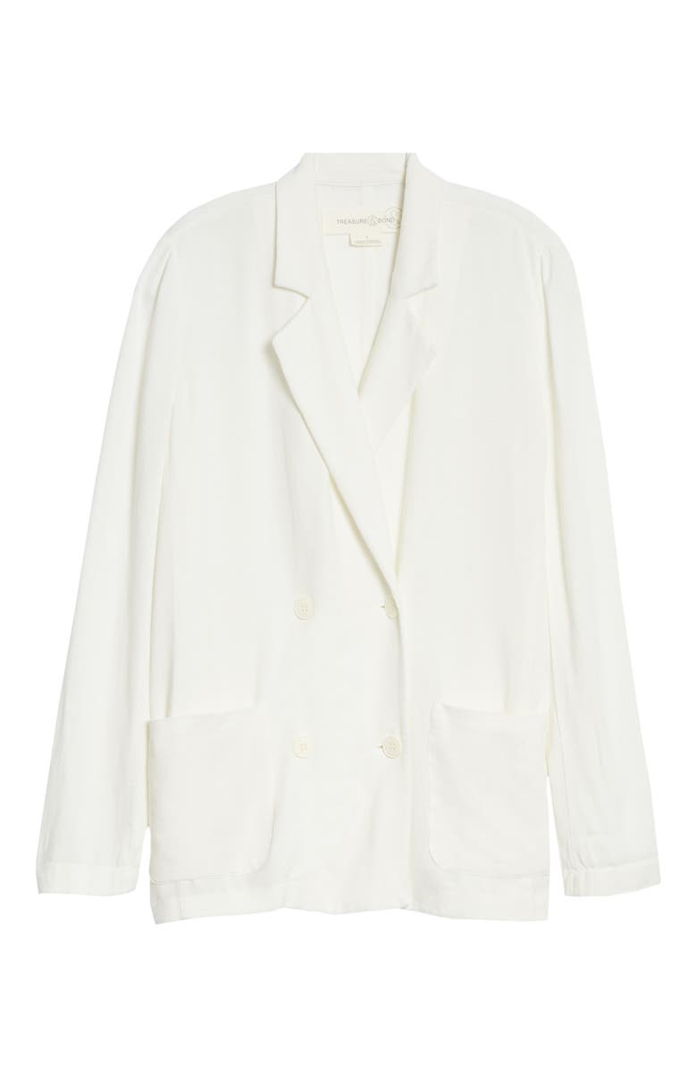 TREASURE & BOND Double Breasted Blazer, Main, color, IVORY EGRET