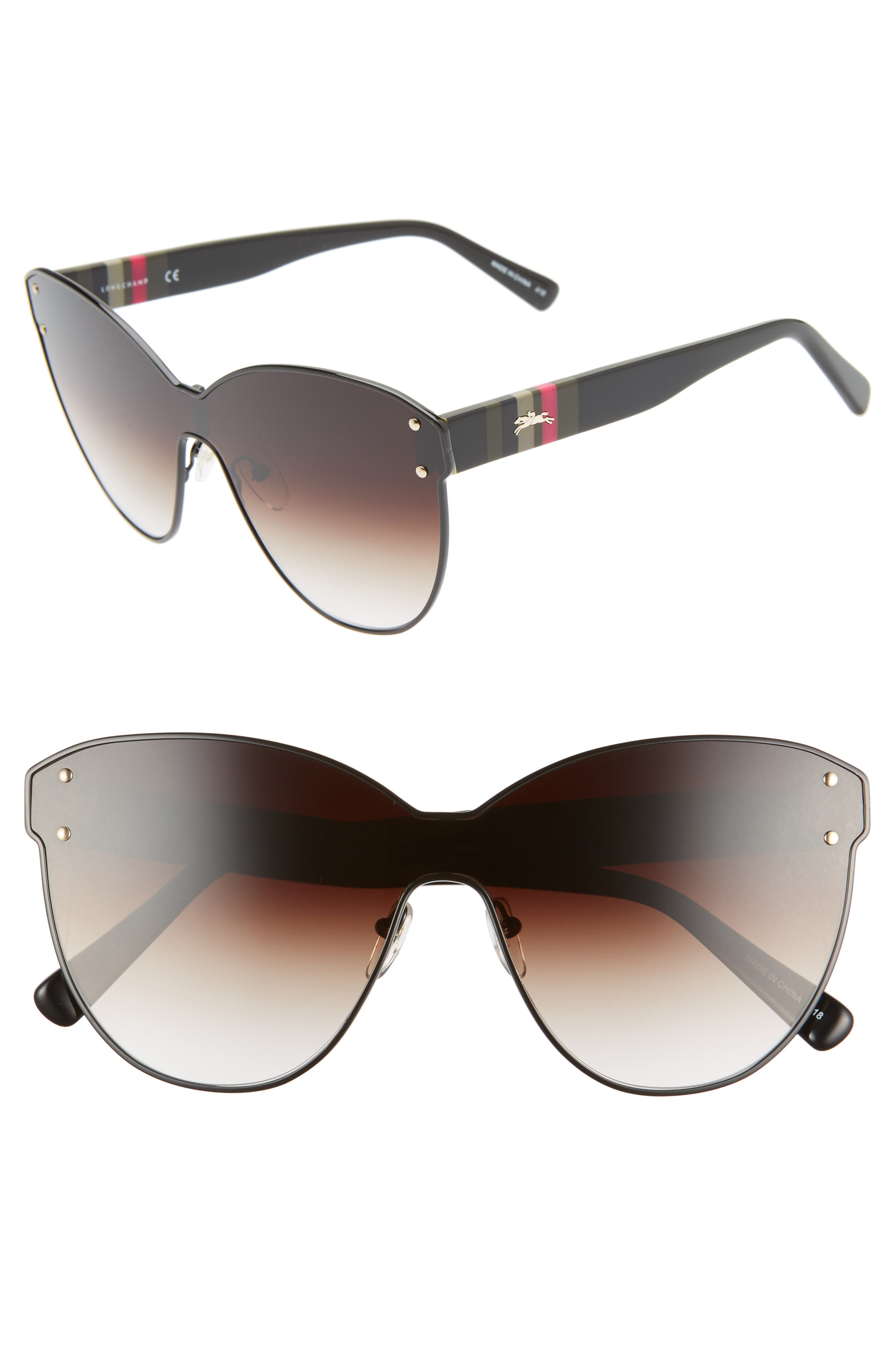 Longchamp Sunglasses Heritage Stripe 62mm Oversize Shield Sunglasses