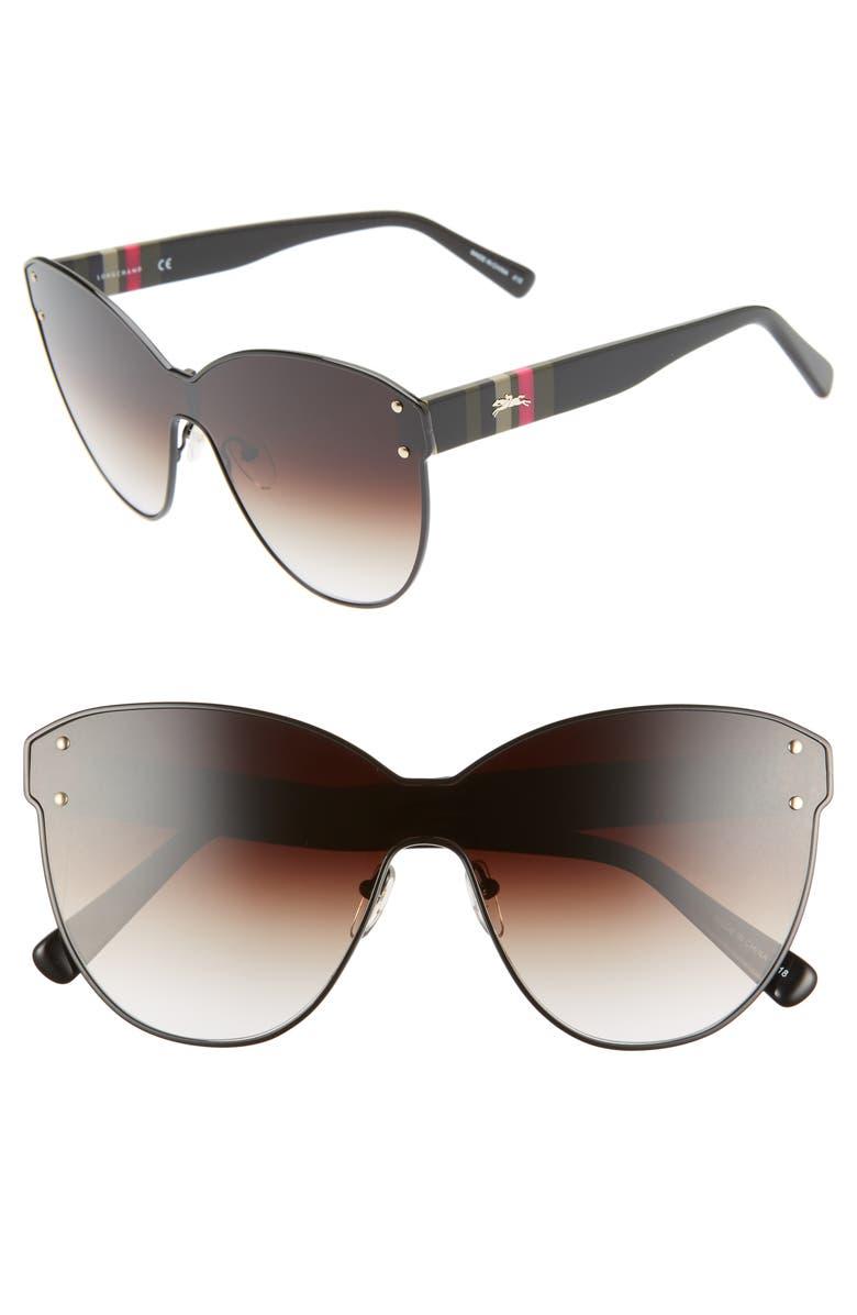 LONGCHAMP Heritage Stripe 62mm Oversize Shield Sunglasses, Main, color, 001