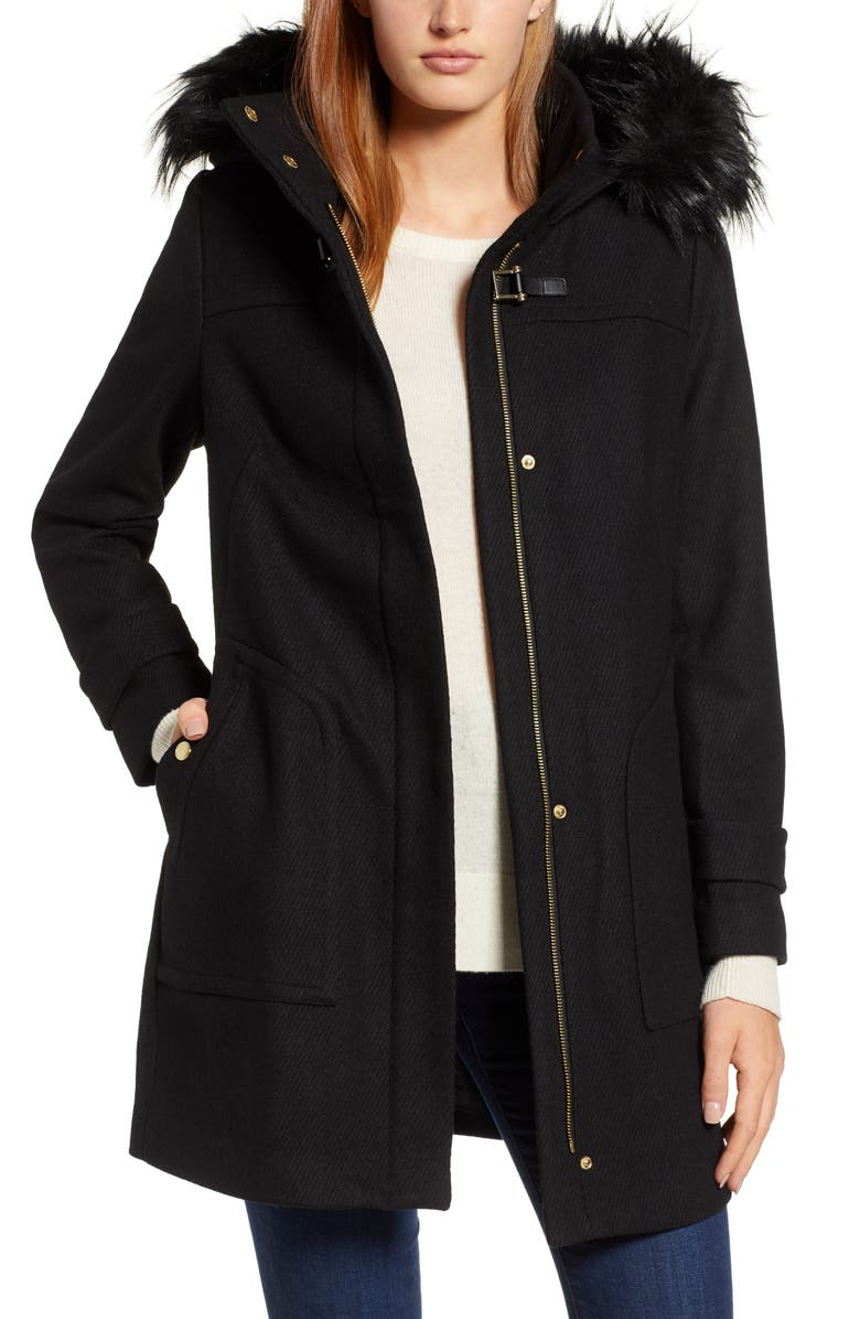 COLE HAAN SIGNATURE Wool Blend Twill Duffle Jacket with Faux Fur Trim, Main, color, BLACK
