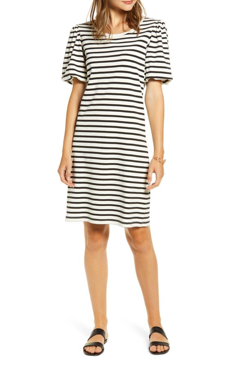 RACHEL PARCELL Bubble Sleeve T-Shirt Dress, Main, color, 001