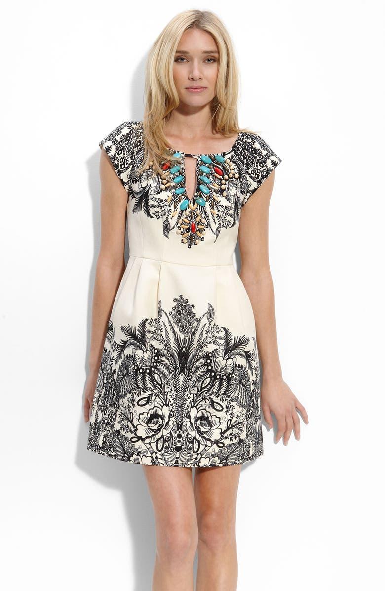 NANETTE LEPORE Keyhole Embellished Dress, Main, color, 101