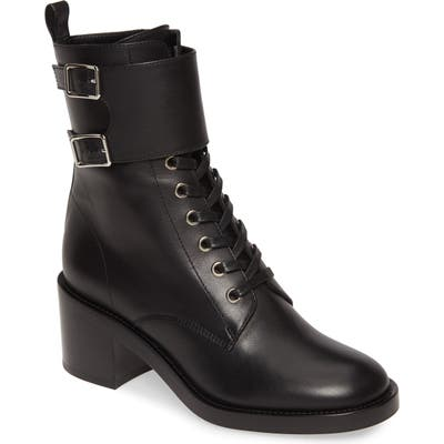 Gianvito Rossi Ankle Cuff Combat Boot, Black