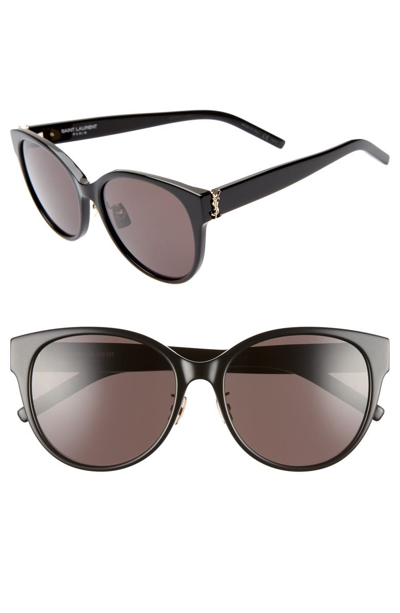 SAINT LAURENT 57mm Round Sunglasses, Main, color, BLACK/ BLACK