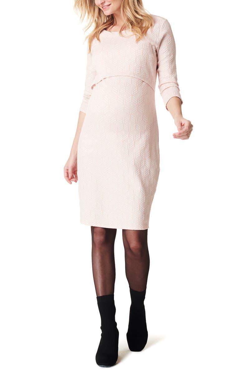 NOPPIES Kandice Textured Geo Pattern Maternity/Nursing Dress, Main, color, LIGHT ROSE