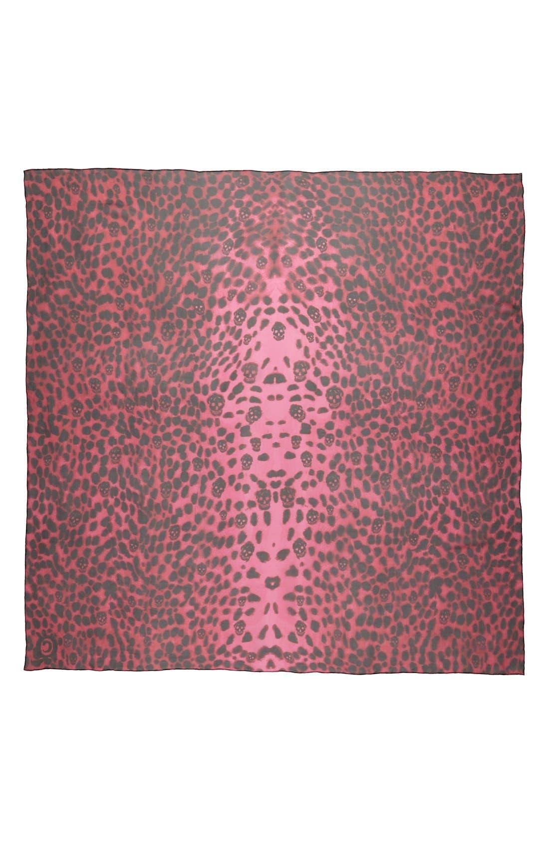 ,                             'Leopard Skull' Chiffon Scarf,                             Alternate thumbnail 3, color,                             001